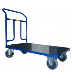 Wózek platformowy magazynowy, poręcz przykręcana, nośność 300 kg
