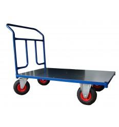 Wózek platformowy magazynowy, poręcz przykręcana, 225 kg