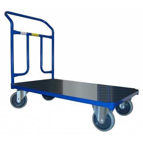 Wózek magazynowy platformowy, poręcz przykręcana, nośność 400 kg