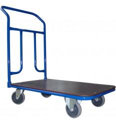 Wózek platformowy magazynowy, poręcz przykręcana, sklejka, nośność 300 kg
