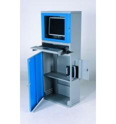Metalowa szafa na komputer z monitorem