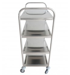 Wózek platformowy kelnerski ze stali nierdzewnej, 4 półki