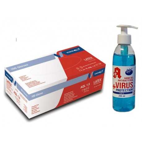 Rękawiczki lateksowe jednorazowe + Żel antybakteryjny i antywirusowy