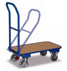 Wózek platformowy magazynowy, 250 kg - składana poręcz