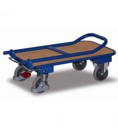 Wózek transportowy platformowy, 150 kg - składana poręcz