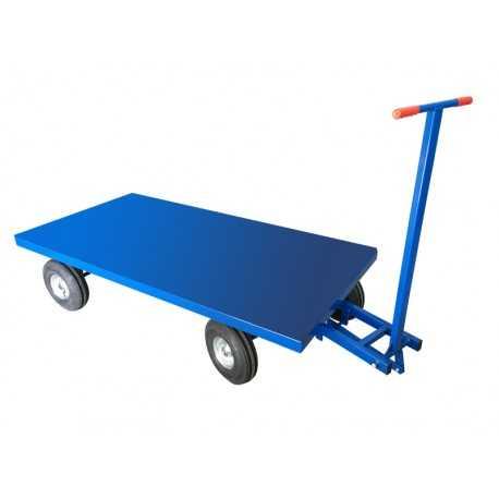 Wózek transportowy z dyszlem skrętnym, blacha, 1500 kg