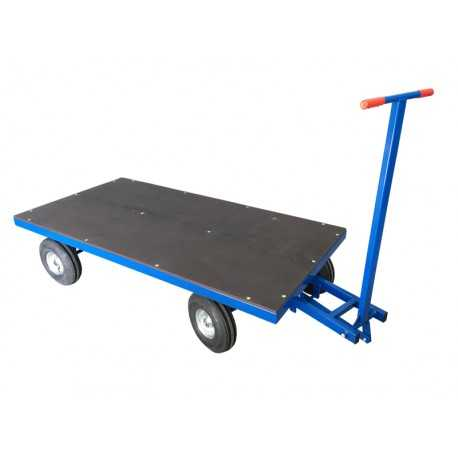 Wózek transportowy z dyszlem skrętnym, sklejka, 1500 kg