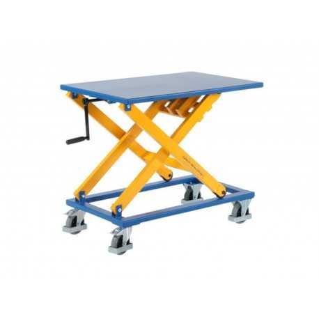 Stół podnośnikowy z korbą na kołach (blat 950x600 mm)